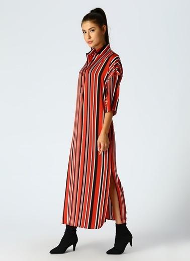Beymen Studio Beymen Studio Çizgili Kırmızı Elbise Bordo